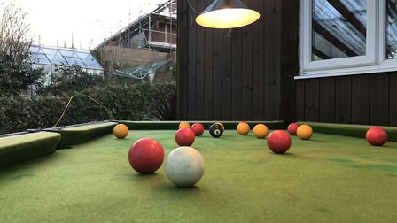 The man cave comes with a pool table. Picture: Victoria Pertusa