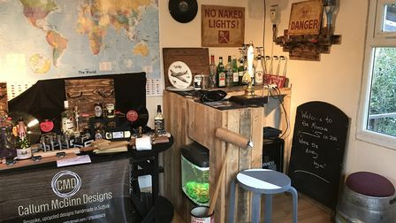 Most of the furniture inside the man cave has been built by Callum himself. Picture: Victoria Pertus