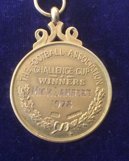 The back of the FA Cup winner's medal, engraved with Mick Lambert's name Picture: MARGARET LAMBERT