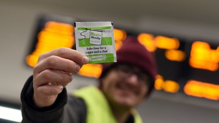 The Samaritans spent the morning giving out free tea bags as part of 'Brew Monday' Picture: SARAH
