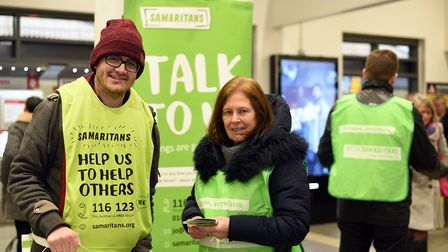 Volunteers Steven Alder and Anne Reeder at Ipswich station Picture: SARAH LUCY BROWN