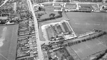 Took's Bakery is in the centre of this aerial view from around 1970. The Norwich Road (Now the Old N