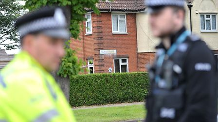 Police in Packard Avenue following the murder of Tavis Spencer-Aitkens Picture: SARAH LUCY BROWN