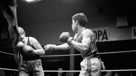 Boxing match at the First Floor Club in Ipswich, January 1981 Picture: ARCHANT