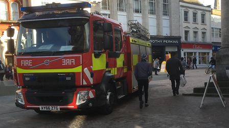 A nearby fire engine was flagged down to help after the man fell on steps at the Cornhill, Ipswich o
