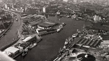 An aerial photo from 1974 of Ipswich docks before the area was re-developed as the Waterfront Pictu