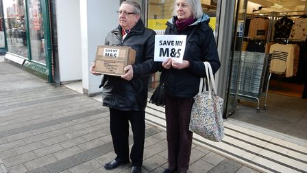Michael Sharman and Margaret Morris from Felixstowe Labour party deliver a parcel of protest cards t