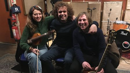 Daniel Wakeford from The Undateables with band mates Lizzy Carey and Gareth Evans in Ipswich Picture