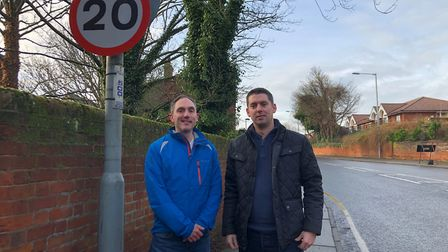 Councillor Chris Chambers (right) in the new Anglesea Road 20mph zone. Picture: CONTRIBUTED