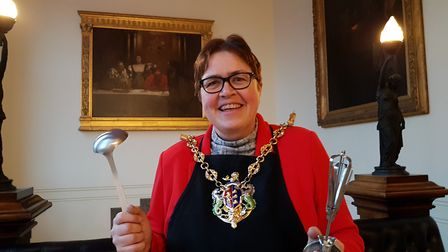 Mayor of Ipswich, Jane Riley, getting ready for the Ipswich Bake Off. Picture: RACHEL EDGE
