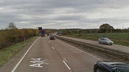 A multi-vehicle crash is blocking the A14 eastbound between Copdock and Wherstead Picture: GOOGLEMAP