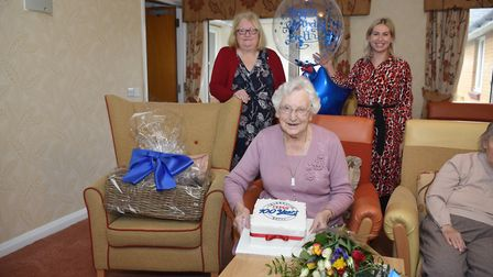 Betty Carpenter, from Hadleigh, celebrates her 100th birthday Picture: TESCO