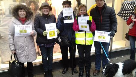 Campaigners make their point outside Felixstowe M&S Picture: FELIXSTOWE TOWN CENTRE RESIDENTS' ASSOC