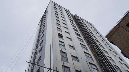 Cladding is coming off St Francis Tower in Ipswich Picture: RACHEL EDGE