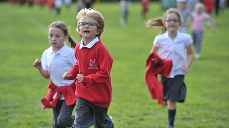 Children at Britannia Primary School taking part in the Daily Mile initaive Picture: SARAH LUCY BRO