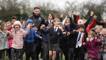 Children at Martlesham Primary Academy brave the cold to do their Daily Mile Picture: SARAH LUCY BR