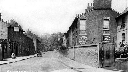 This part of Handford Road, Ipswich, is now under Civic Drive. The public house on the left was the