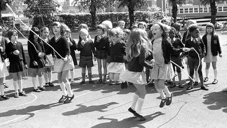 Happy faces during playtime at St Matthews School, Ipswich, in May 1977. Can you add any names to th