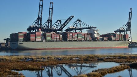 The Manhattan Bridge, a Japanese-registered ship, was travelling between Felixstowe and Rotterdam wh