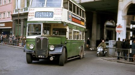 A bus crossing the Cornhill in April 1963 on the service from LLoyds Avenue to the rail station. Pic