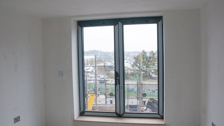 A balcony door at the nearly-finished flat in the new Winerack development. Picture: NICOLE DRURY/IB