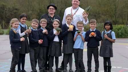 Caroline Wilson and Jamie White held a healthy eating workshop with pupils at Gorseland Primary Scho