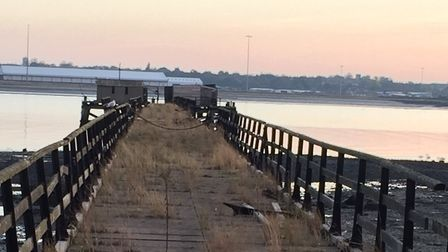 Shotley Pier before work began to remove the asbestos found in the buildings in 2019 Picture: TONY L