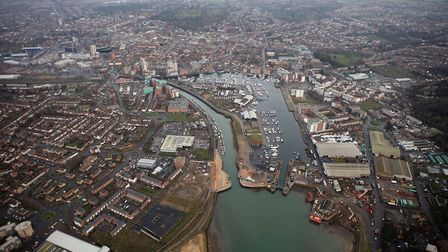 An aerial view of the new Ipswich tidal barrier Picture: ENVIRONMENT AGENCY