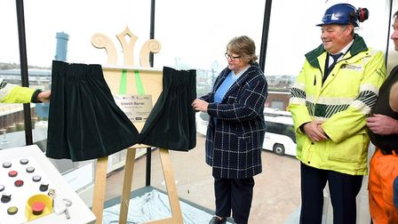 Floods minister Therese Coffey unveils a plaque to mark the completion of the Ipswich tidal barrier