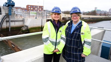 Environment Agency chairman Emma Howard Boyd, left, and Floods Minister Th�r�se Coffey at the openin