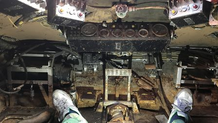 Inside the Chieftain tank near Ipswich which will be restored over the next two years Picture: NEIL