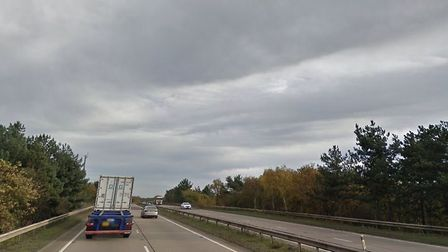 The A14 at Nacton where three cars collided Picture: GOOGLE MAPS