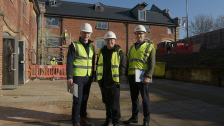 Mark Pertwee, Cllr David Ellesmere and Robin Cousins on site at the new Maltings development Pict