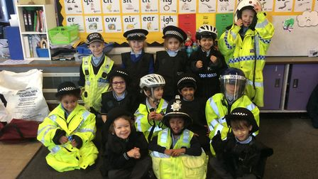 The reception class at the primary school in Portman Road got to dress up as polic for the morning,