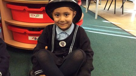 the children at St Andrew's school in Ipswich had the chace to dress as polcie officers Picture: ST