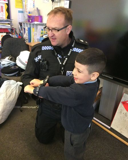 PC Mike Small made sure all the children were behaving Picture: ST MATTHEWS VOLUNTARY AIDED PRIMARY
