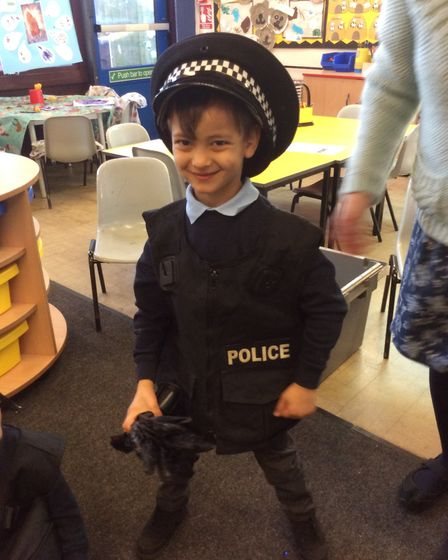 Some of the children also had the chance to try on the hats and vests worn by suffolk constabulary's