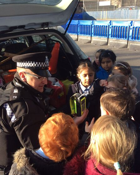 Suffolk Constabulary's PC Mike Small showed the pupil's how the breath test machinery worked Picture