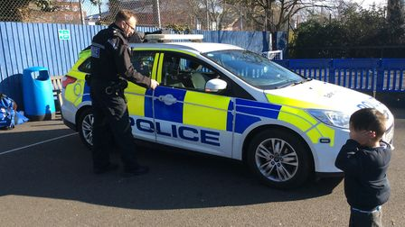 The siren on PC Mike Small's police care was too loud for some Picture: ST MATTHEWS VOLUNTARY AIDED
