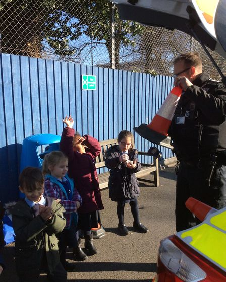 The children also got to see what the police keep in their car to help people stay safe Picture: ST
