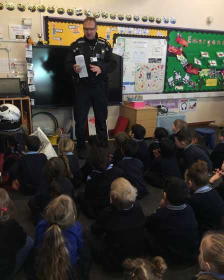 PC Mike Small spoke to both reception classes at the school in Portman Road Picture: ST MATTHEWS VOL