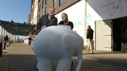 Jason Alexander with Jo Beattie from the St Elizabeth Hospice. Jason will be designing their offici