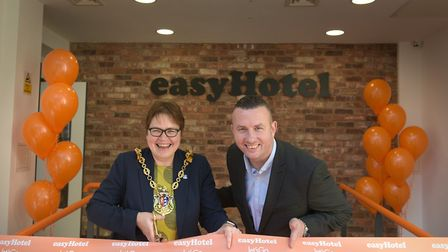 Mayor of Ipswich Jane Riley and group operations director Iain Goswell open the easyHotel in Ipswich