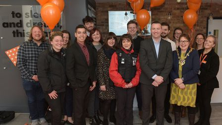 Dignitaries and local businesses celebrate the opening of the new easyHotel in Ipswich Picture: SAR