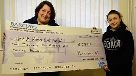 Teenage singer songwriter Roma Manteiga Nicholson hands over a cheque to Ipswich Winter Night Shelte