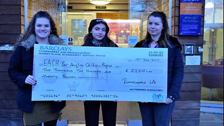 Teenage singer songwriter Roma Manteiga Nicholson hands over a cheque to East Anglia's Children's Ho