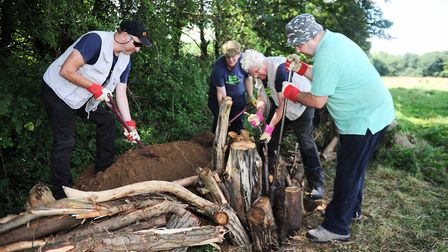 Volunteers for the Ipswich Greenways Countryside Project and the Friends of Belstead Brook Park car