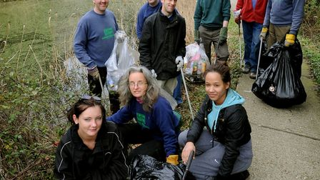 Members of the Greenway Project and volunteers helping to clean-up the Alderman Canal nature reserve