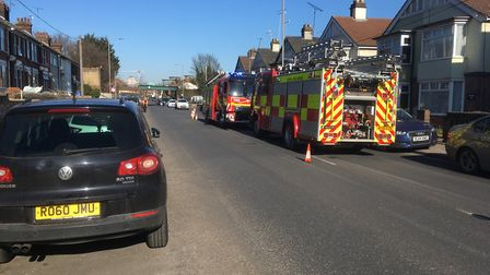 Fire crews at the incident in Wherstead Road, Ipswich Picture: PAUL GEATER