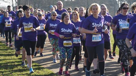 Competitors set off at the start of the Resolution Run in aid of the Stroke Association at Ipswich's
